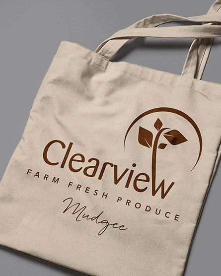 Clearview logo design on a tote bag