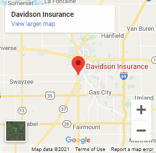 Google Map - Davidson Insurance - 503 W 42nd St. Marion, IN 46953