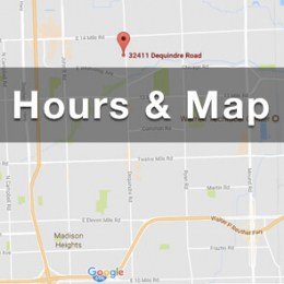 location map and hours for double action gun shop pic of google map with the text hours and map overlaid