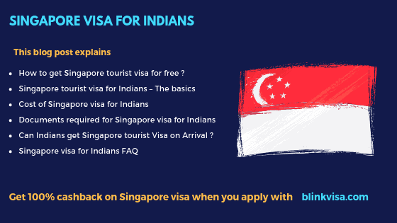 Singapore Visa for Indians with 100% Cashback