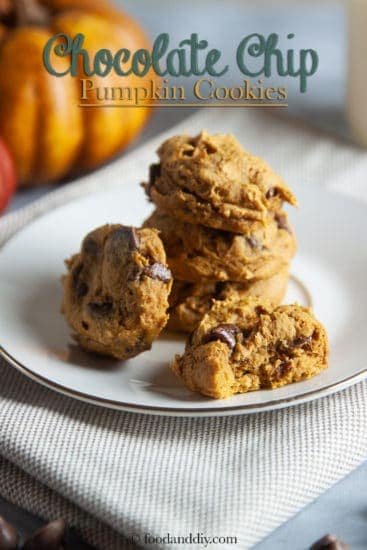 Chocolate chip pumpkin cookies on white plate