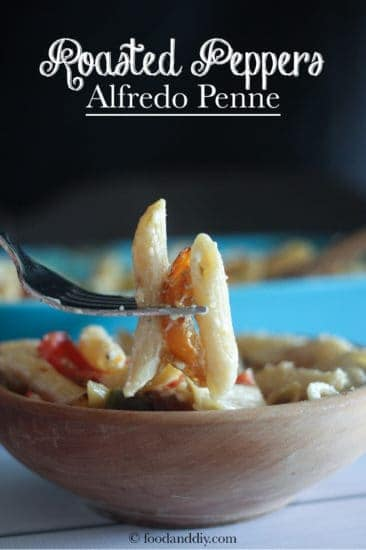 Roasted Pepper Alfredo Penne in a bowl