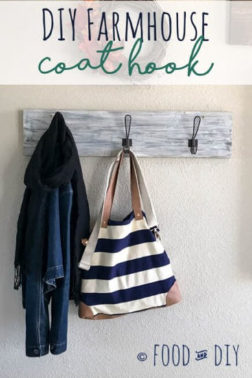 This DIY Farmhouse Coat Rack can be made in ONE day and adds adorable farmhouse flair to your entryway or mudroom!!