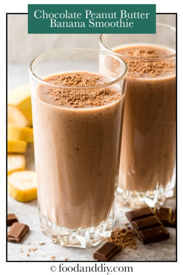 Chocolate peanut butter banana smoothie in clear glasses