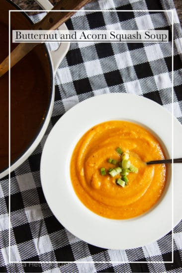 Butternut and acorn squash soup in a white bowl in black check napkin