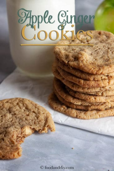 apple ginger cookies on parchment paper on concrete counter