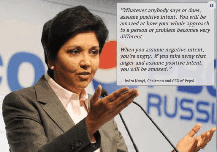 How to be a better manager: Indra Nooyi CEO of Pepsi on assuming positive intent of others