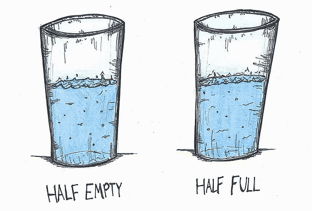 a positive outlook is glass half full