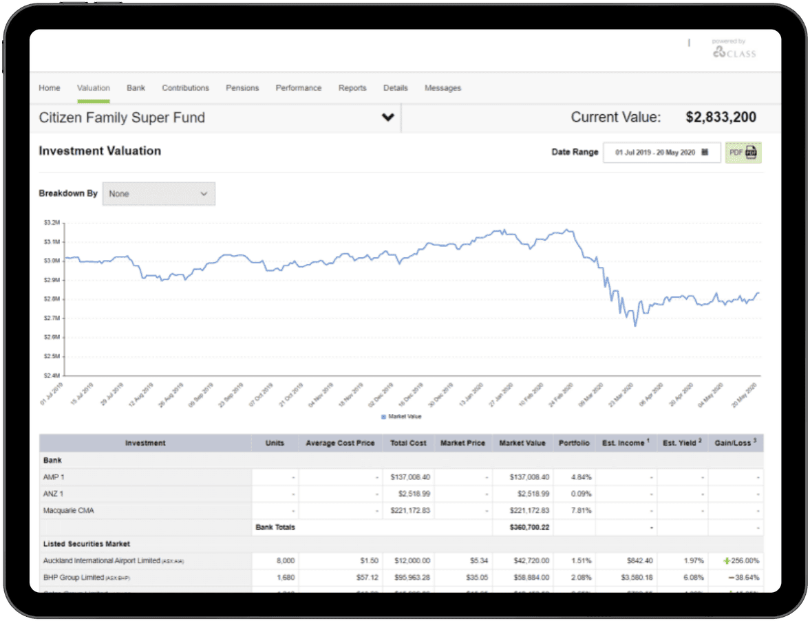 Portfolio valuation online