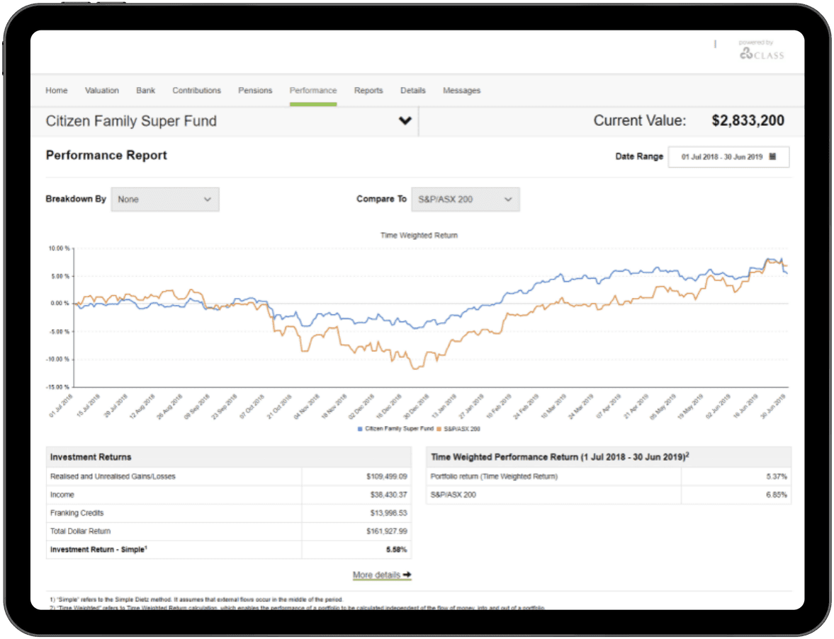 SMSF investment performance online