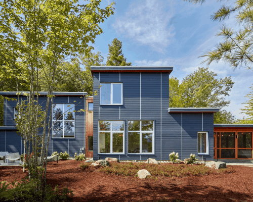 Custom residential NH passive house exterior