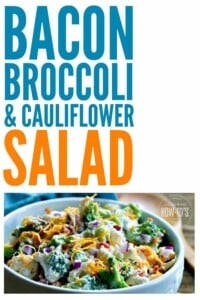 "Bacon Broccoli and Cauliflower Salad is one my kid said is a ""keeper!"" It lasts for days in the fridge, too. #salad #broccoli #cauliflower #bacon #vegetables #easyrecipe #potluck #sidedish"