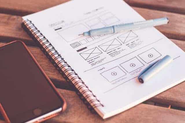 website design layout on sketchpad
