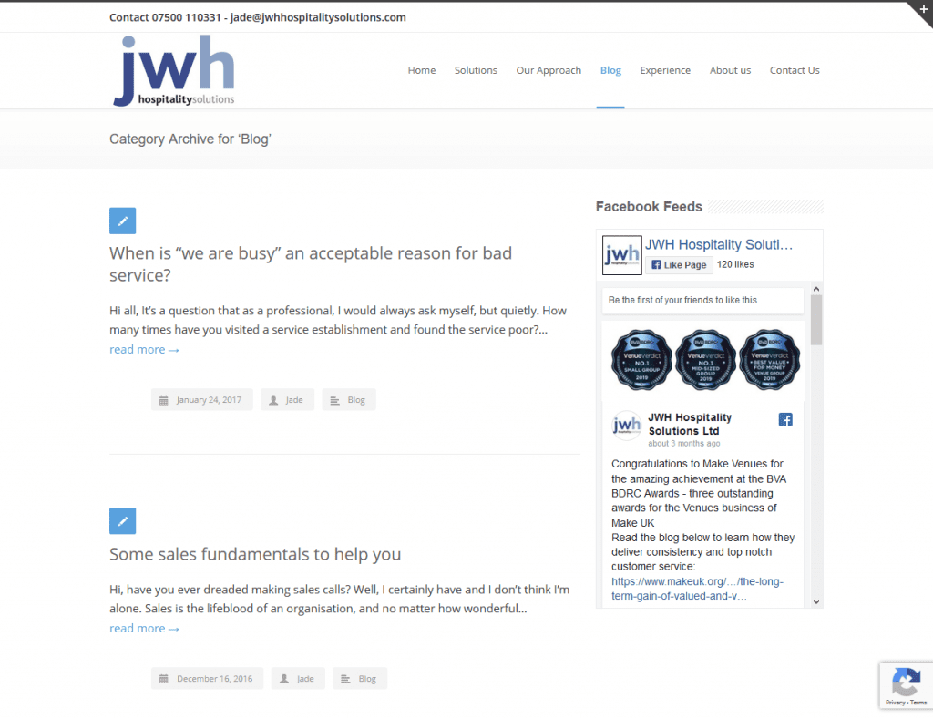 a screen shot of JWH web page which has had new images and new content added