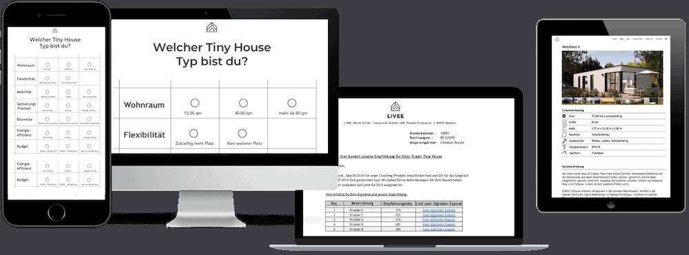 Das Bild zeigt einen Computer und ein Ipad und ein Iphone auf dem Abbildungen des Coachings zu sehen sind, das für den Kauf einen Tiny House wichtig ist.