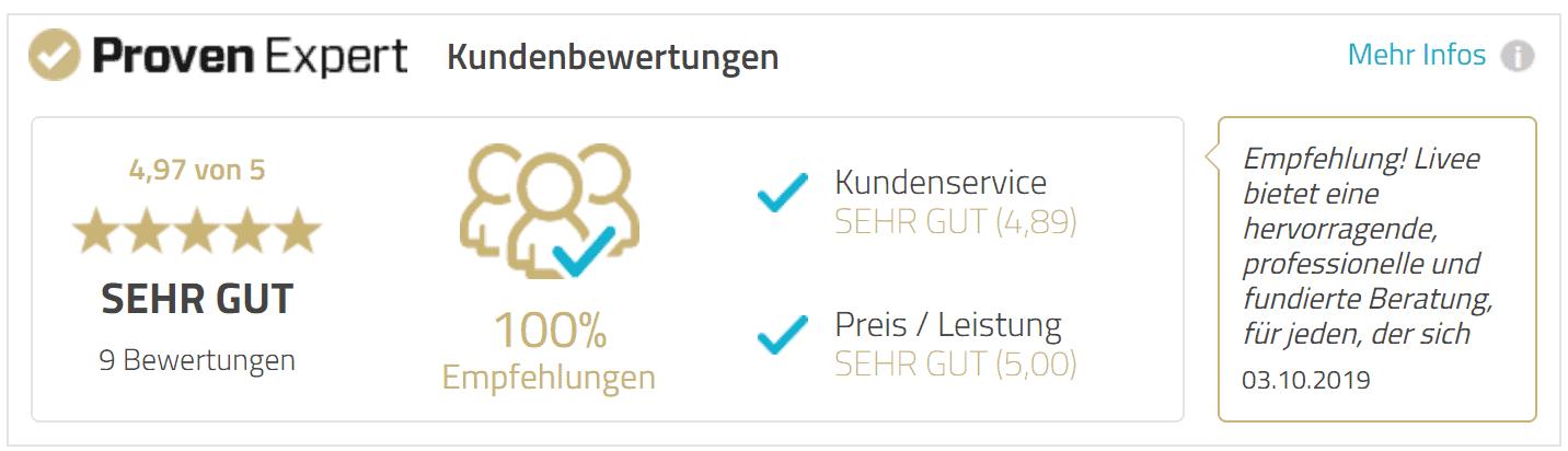 Das Bild zeigt die Kundenbewertung für das Tiny House Coaching von LIVEE. Zu sehen ist eine 5 Sterne Bewertung