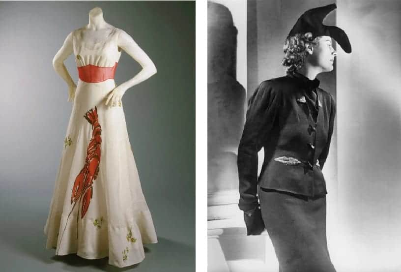 Elsa Schiaparelli and Salvador Dalì, Lobster dress and Shoe-hat (1937)