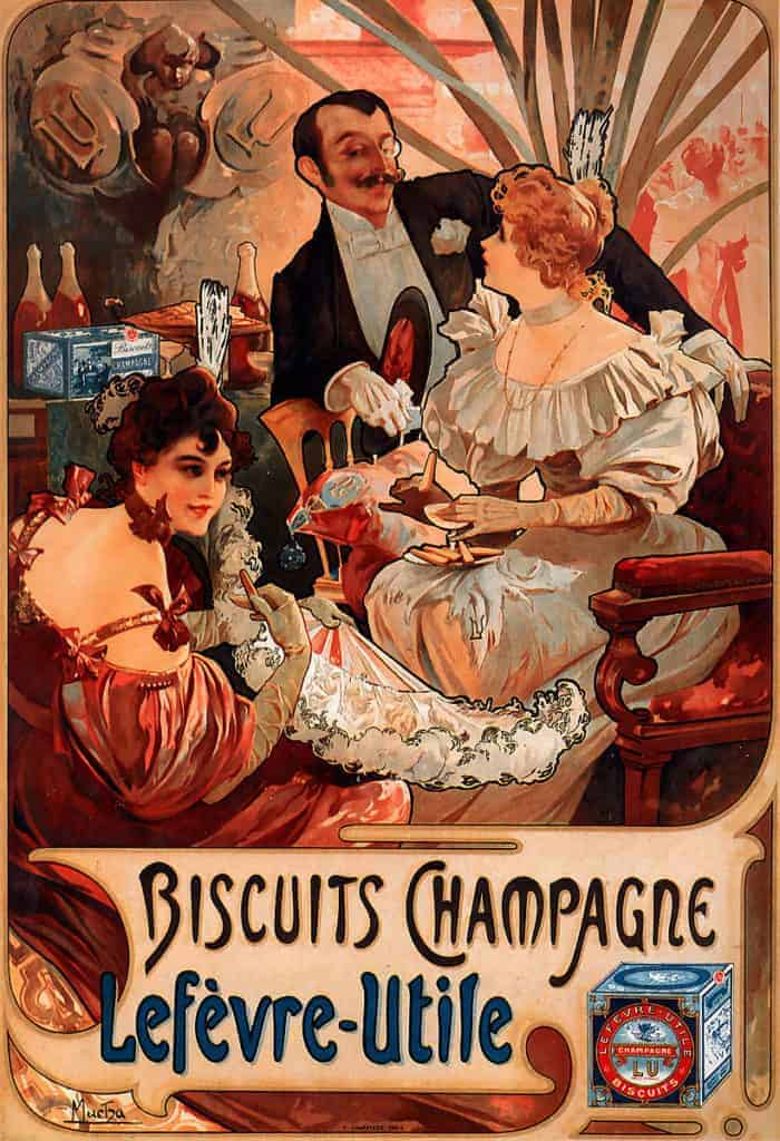 Biscuits Champagne Lefèvre Utile (1896) by Alphonse Mucha