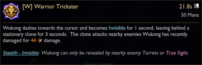 Wukong W Ability Tooltip in League of Legends