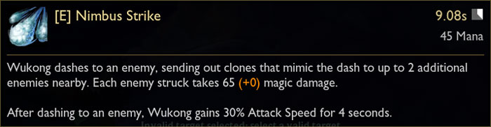Wukong E Ability Tooltip in League of Legends from PBE