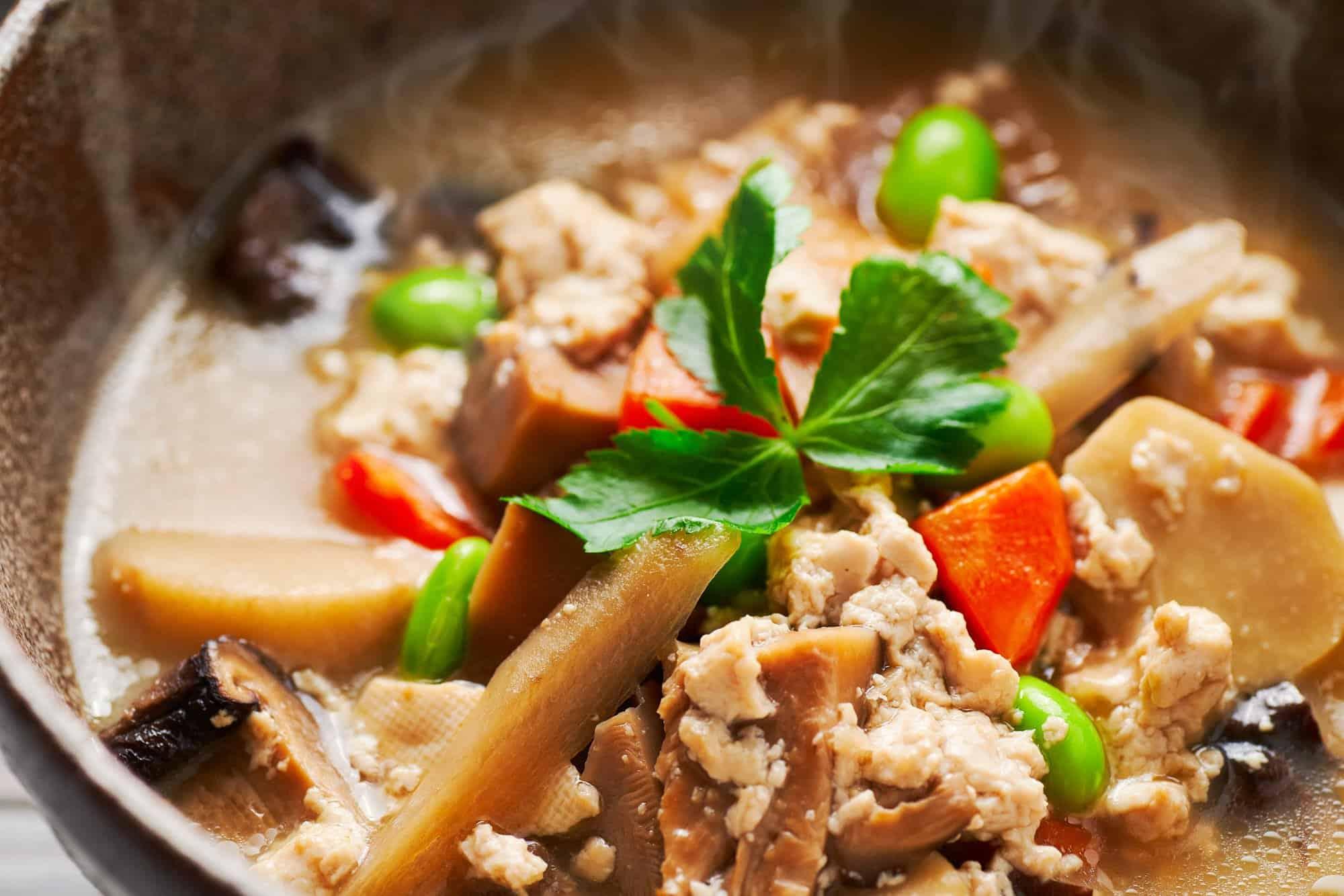 Based in Buddhist monk cuisine, Kenchinjiru is a vegan Japanese soup that's loaded with veggies and tofu in a savory shiitake mushroom stock.