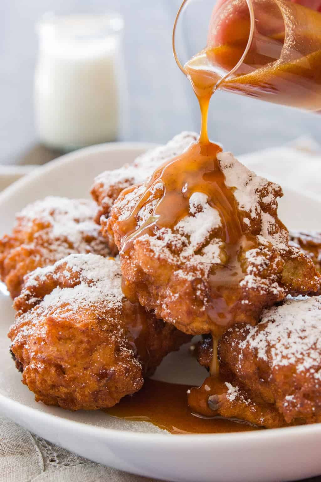 These banana fritters drizzled with vanilla caramel sauce are simply irressistable.