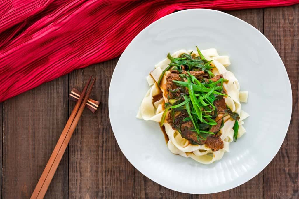 This beef and scallion stir-fry has a delicious savory sauce that goes perfectly with your favorite asian noodles tossed with ginger and sesame oil.