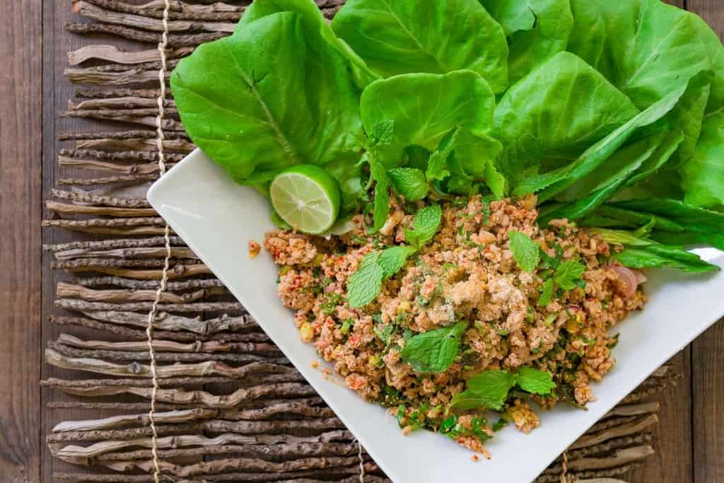 Quick and easy, Larb Mu is a deliciously balanced Thai/Lao lettuce wrap with the refreshing flavors of mint, lemongrass and lime juice.