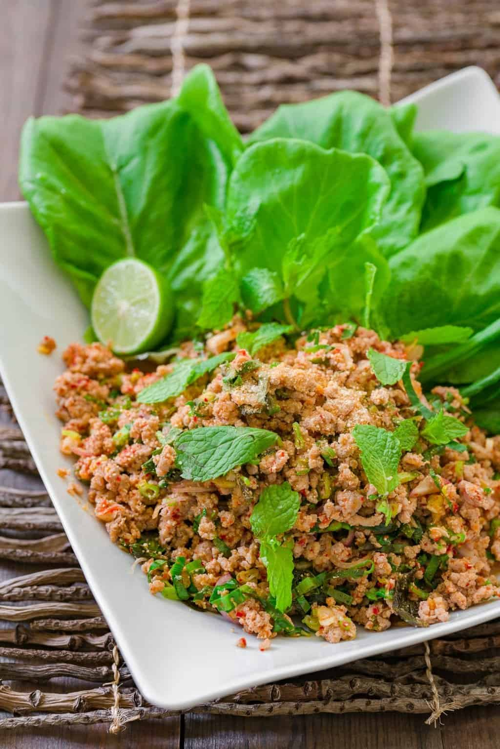 """Larb Mu, or """"pork larb"""" is an easy Isan Thai/Lao salad made with ground meat, mint, lemongrass, chilies, and a tart and savory dressing."""
