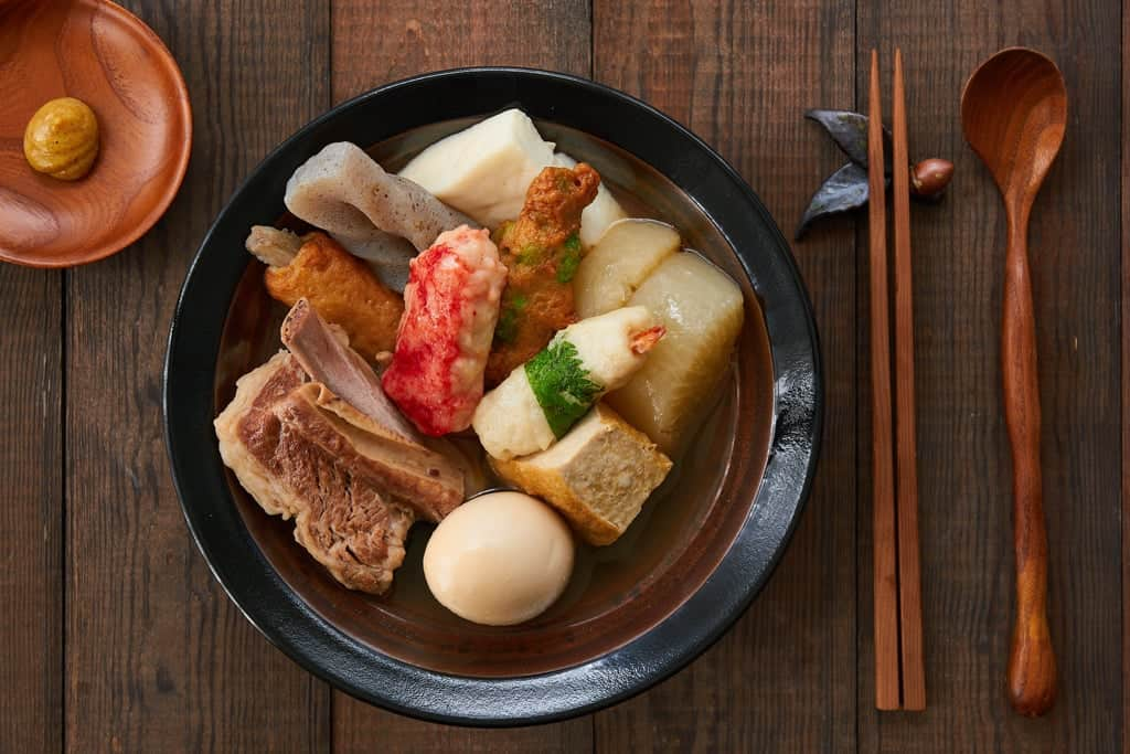 Oden is a Japanese stew with a wide variety of meat, vegetables, tofu, and fishcakes simmered in a mild dashi broth until tender.