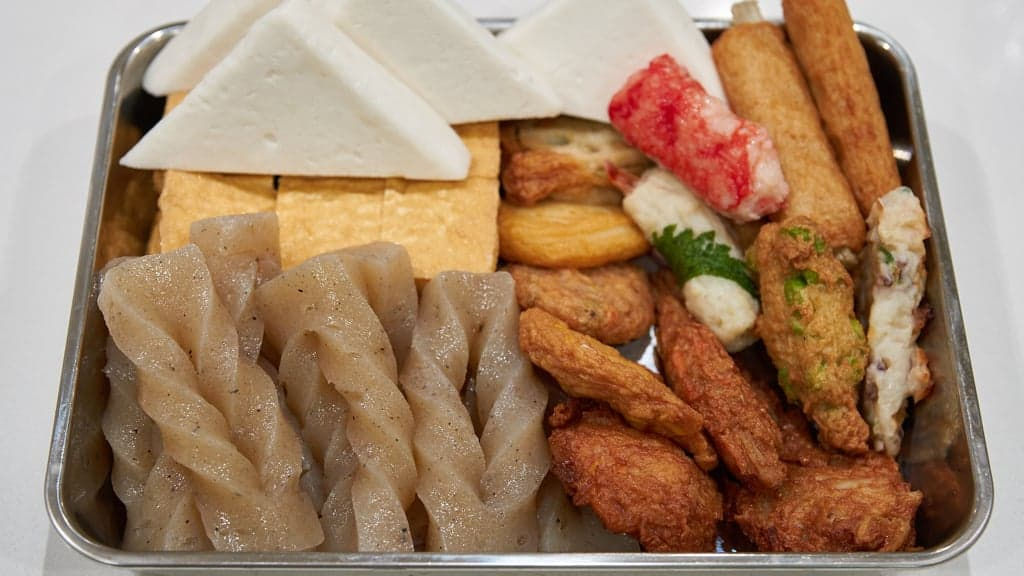 Various fishcakes, fried tofu, and konnyaku for oden.