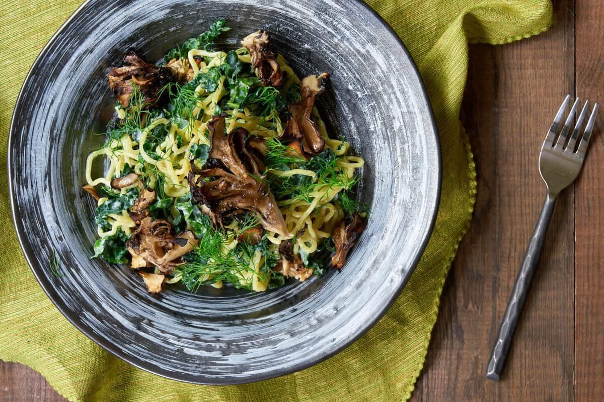 Kale & Ramen Salad with Crispy Maitake