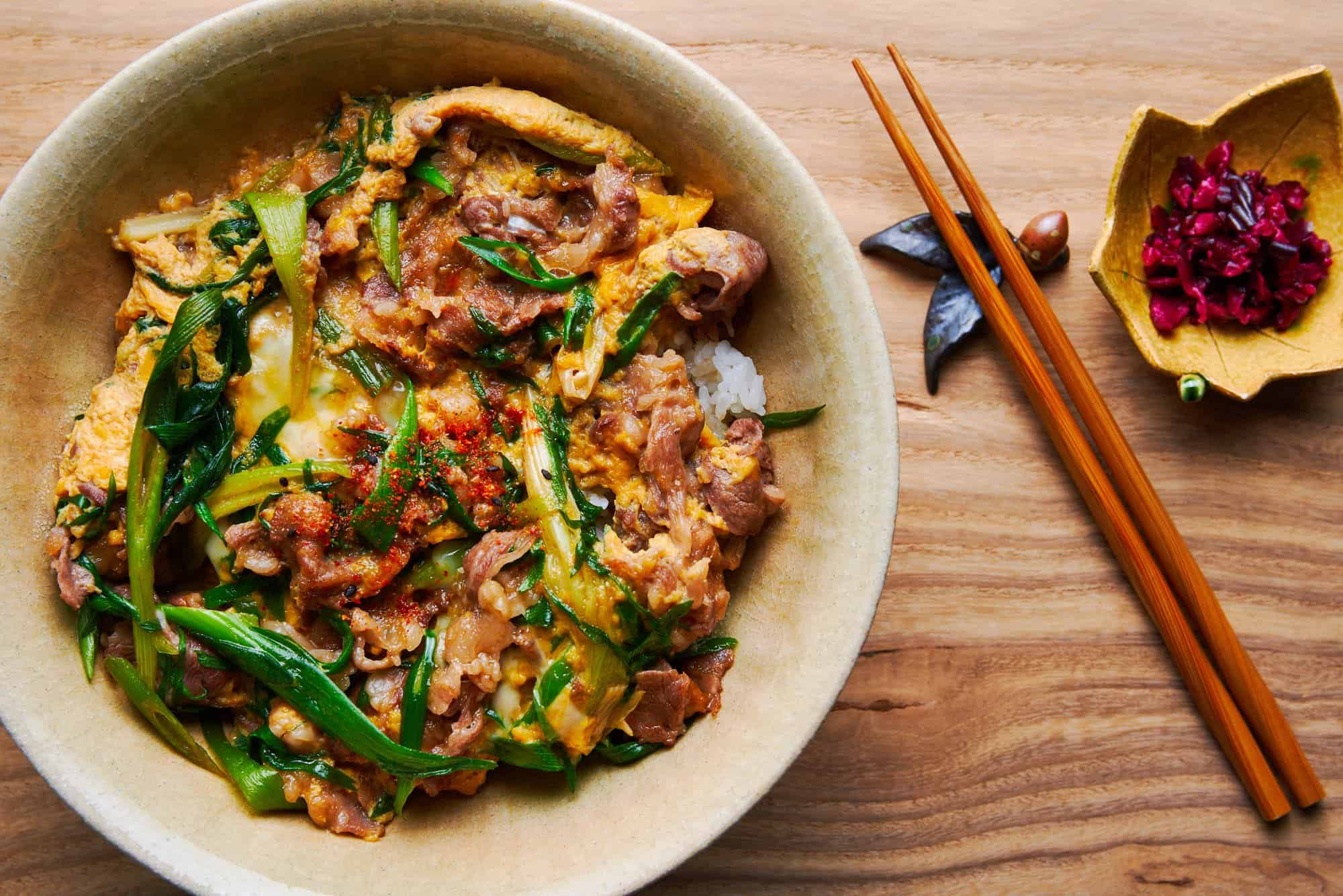 This Japanese beef bowl is loaded with tender beef, sweet scallions and creamy egg cooked in a sweet and savory broth.