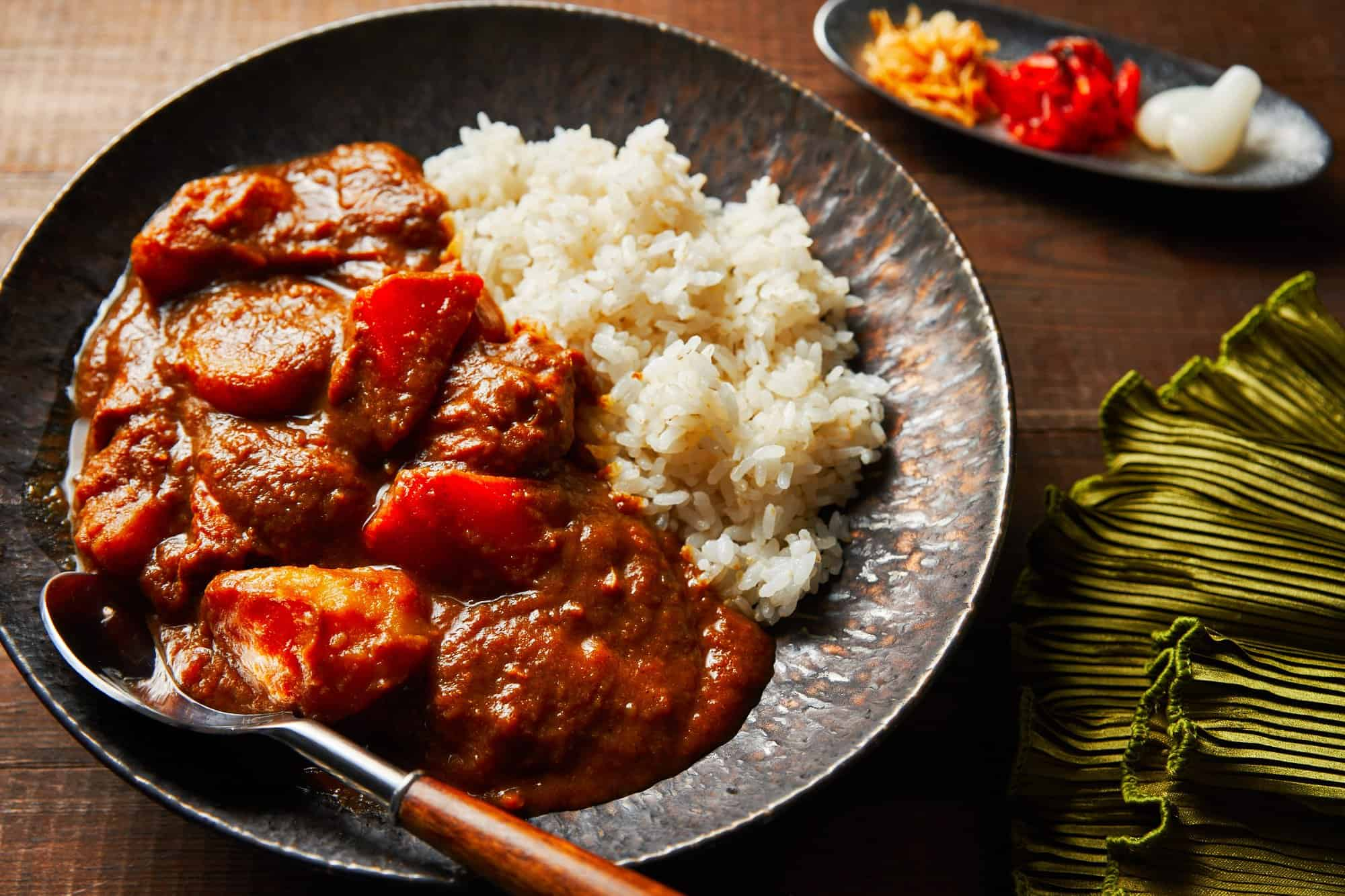Caramelized vegetables and fruit give this Japanese Curry from Scratch it's hearty thickness and savory sweet taste.