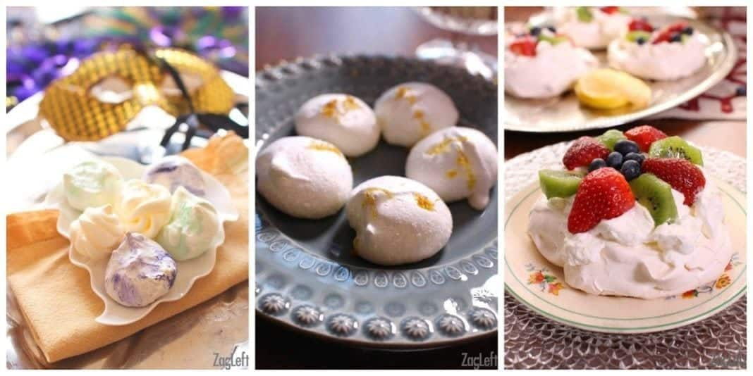 Three Different types of meringue cookies: yellow, green, and purple mardi gras meringues, lemon meringues, and a pavlova topped with strawberries, kiwi and blueberries |