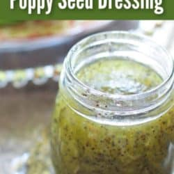 poppy seed dressing next to a big salad on a tray.