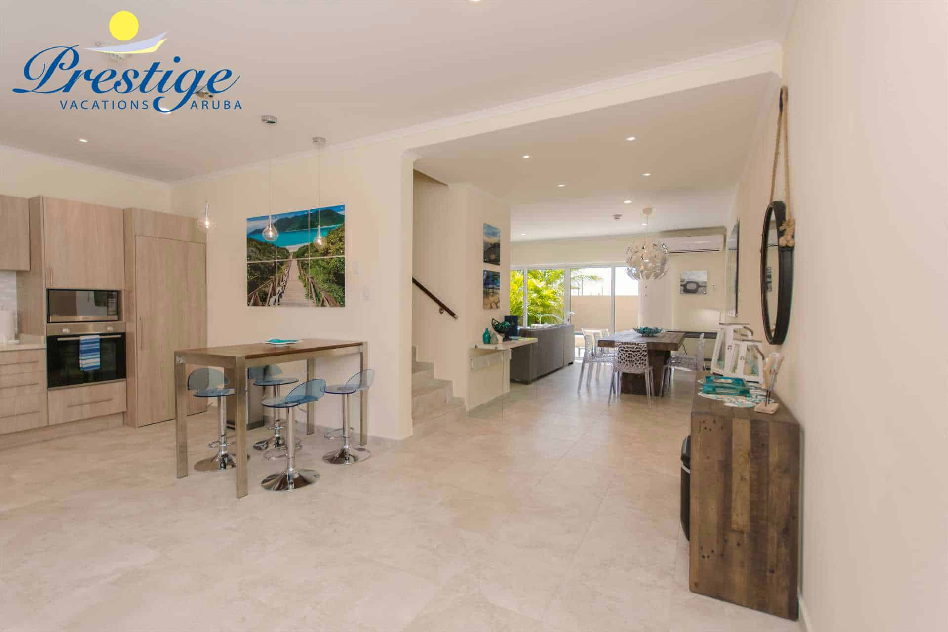 Your spacious 3-level vacation rental completed with Ipanema Beach decor