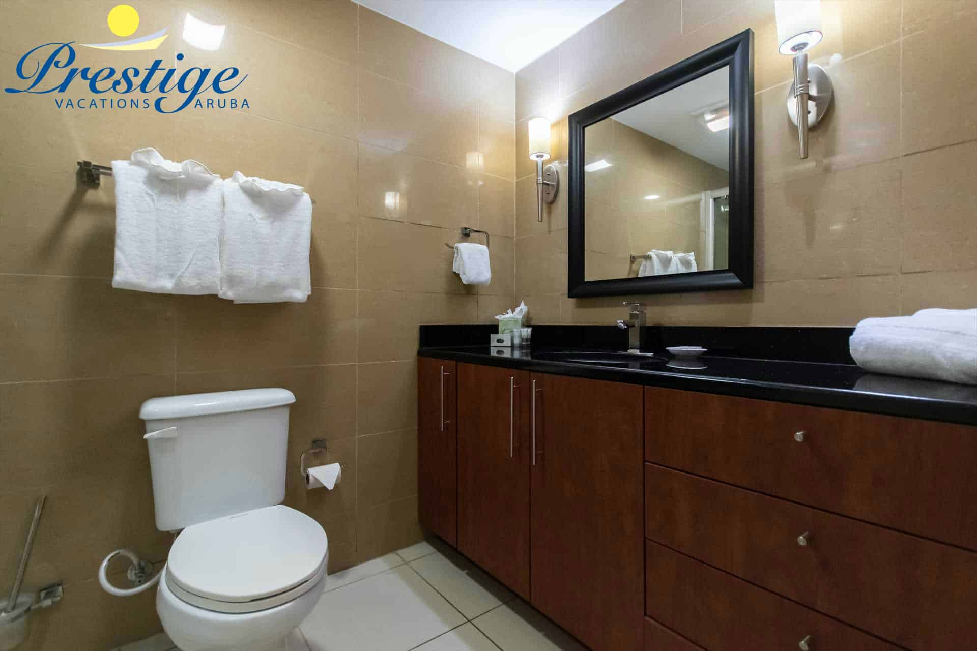 The bathroom with vanity area