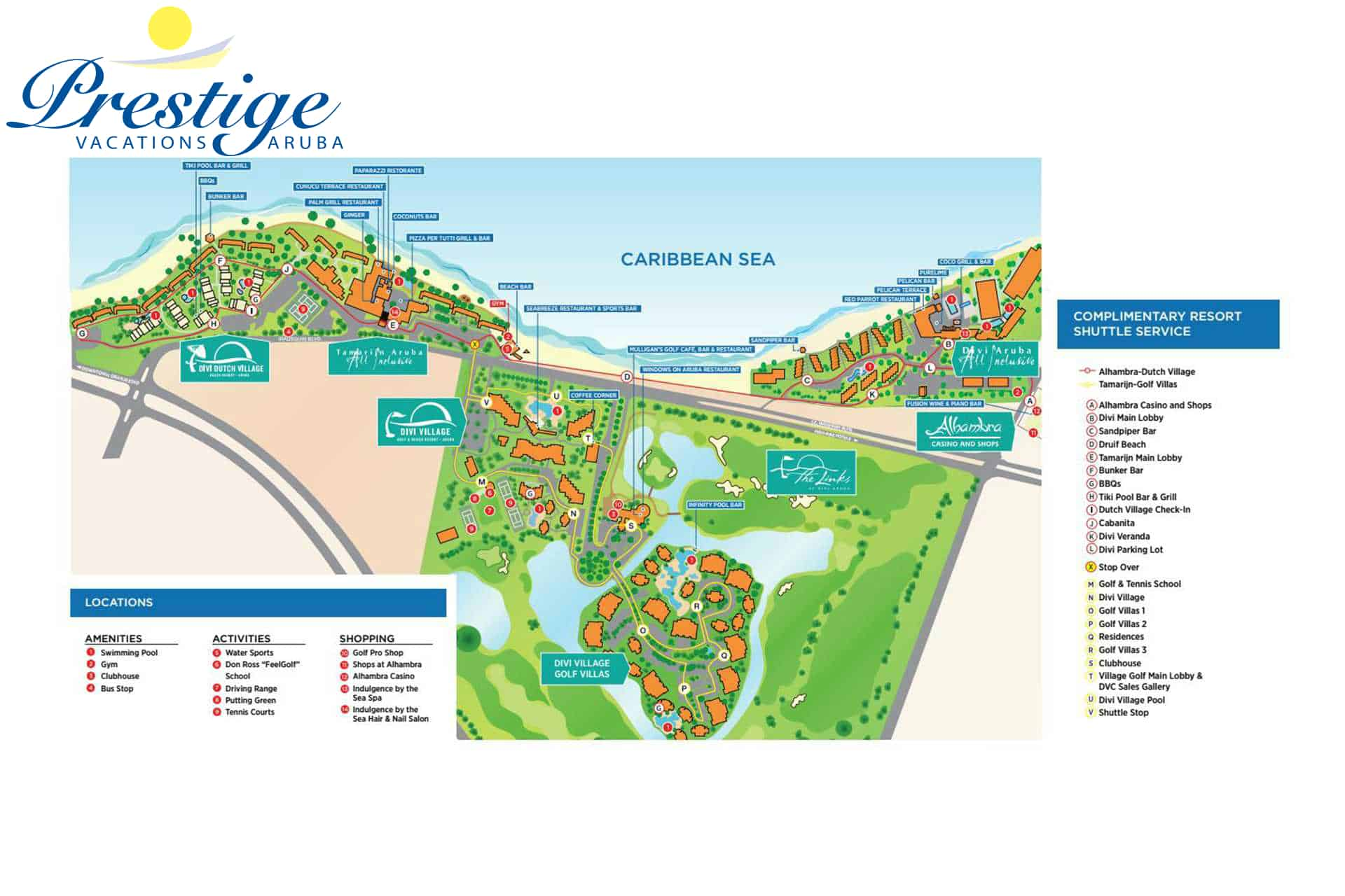 A complete map of the Divi Village Golf & Beach Resort