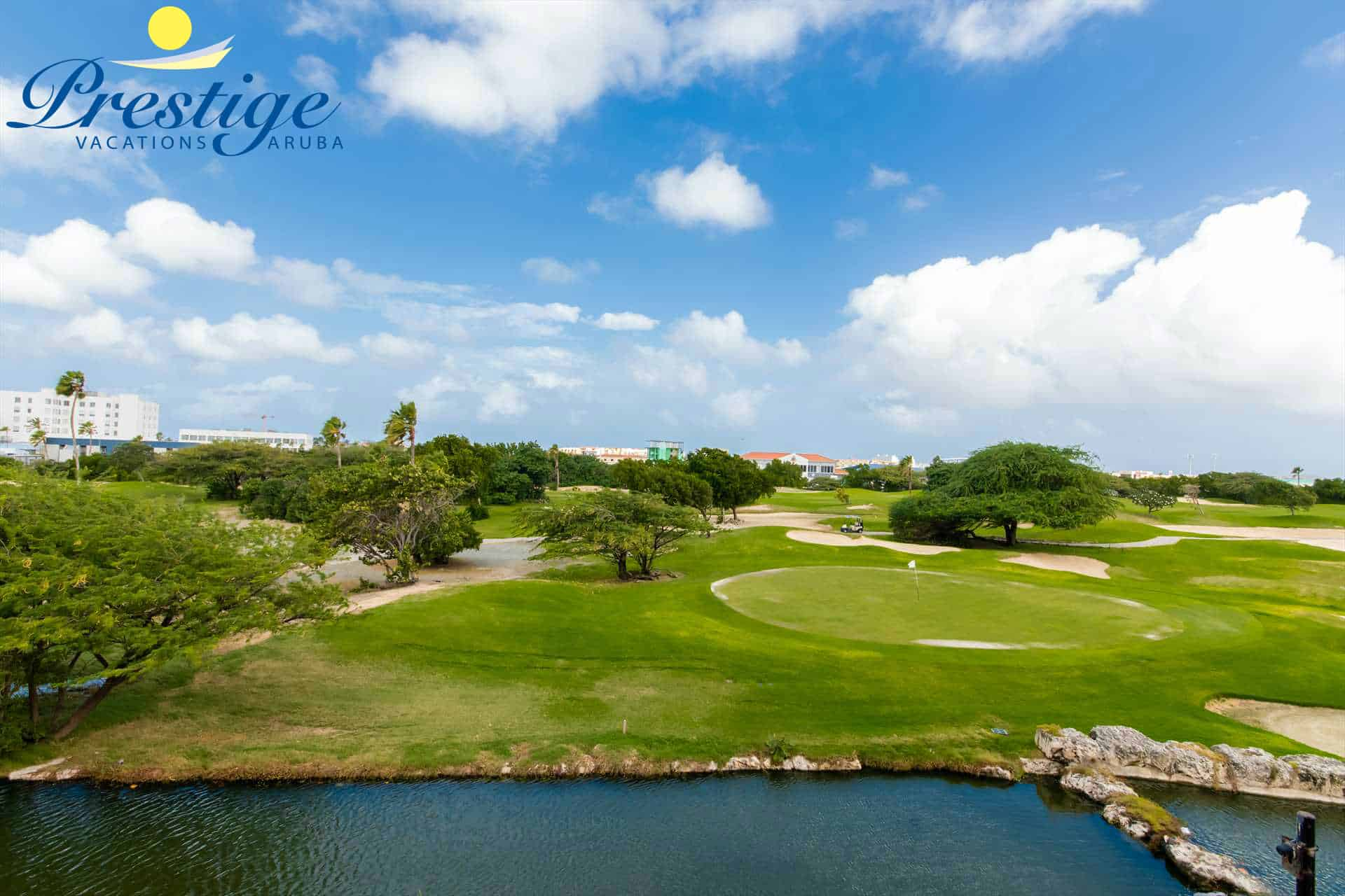 The golf course offers play over water and beautifully landscaped lagoons