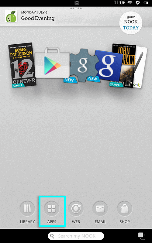 open apps on nook