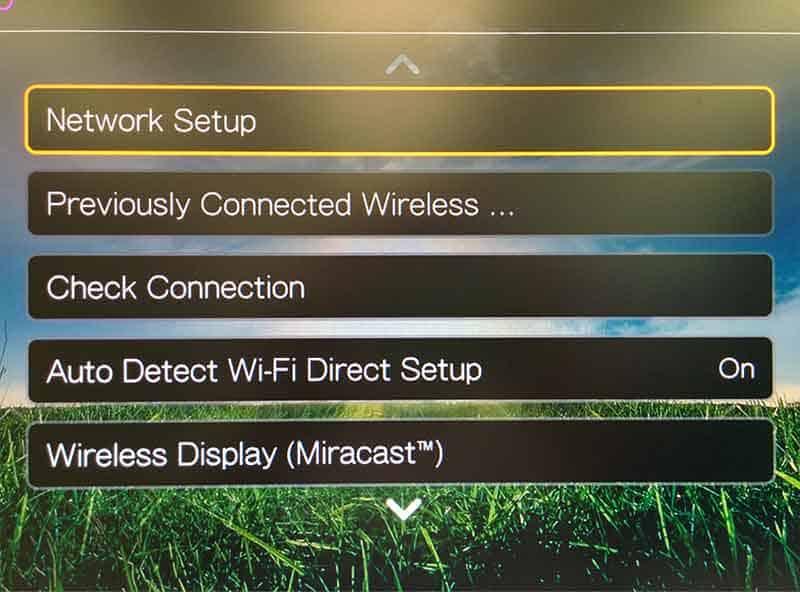 go to network setup