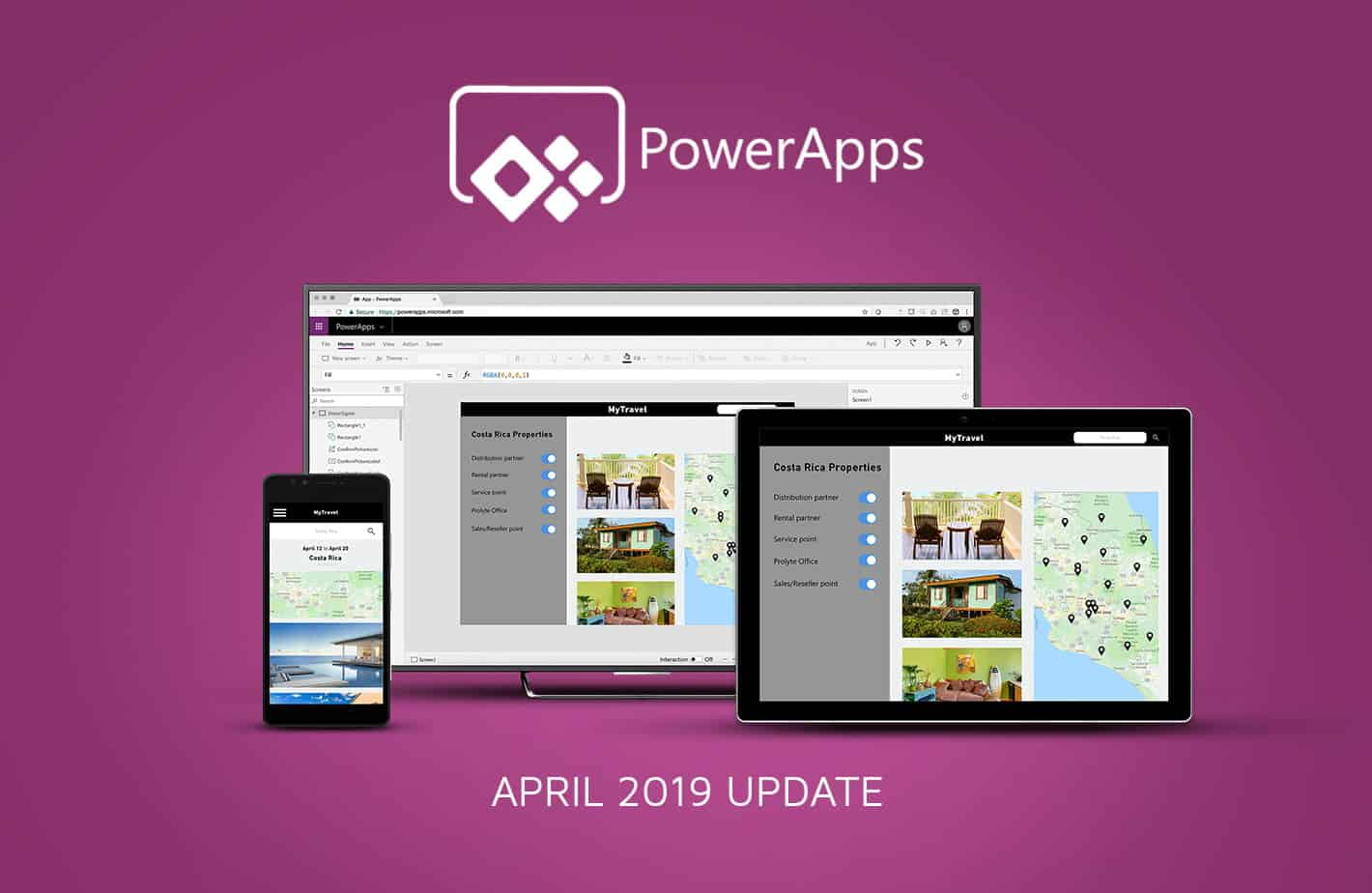 What's new in PowerApps April 2019 blog banner
