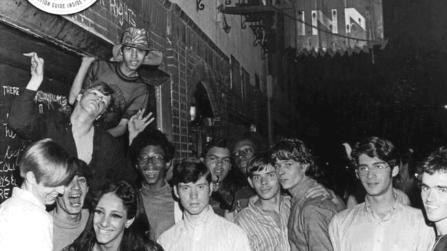 Youthful protesters outside the Stonewall Inn.