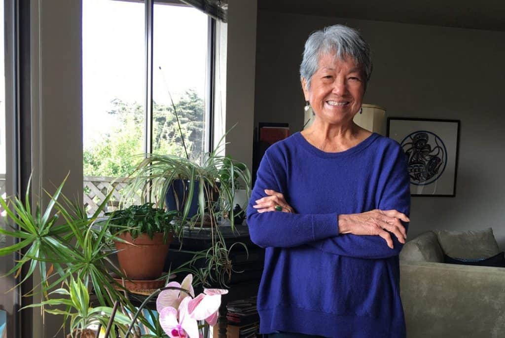 Poet Nellie Wong at home