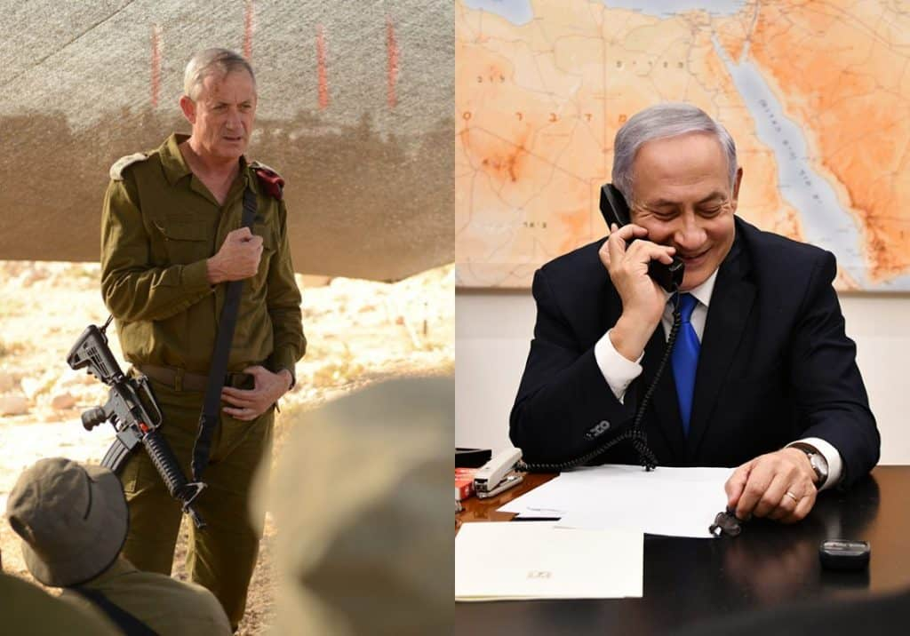 Benjamin Gantz in military fatiugues, carrying a rifle, next to a photo of Benjamin Netanyahu sitting at a desk smiling while talking on a telephone.