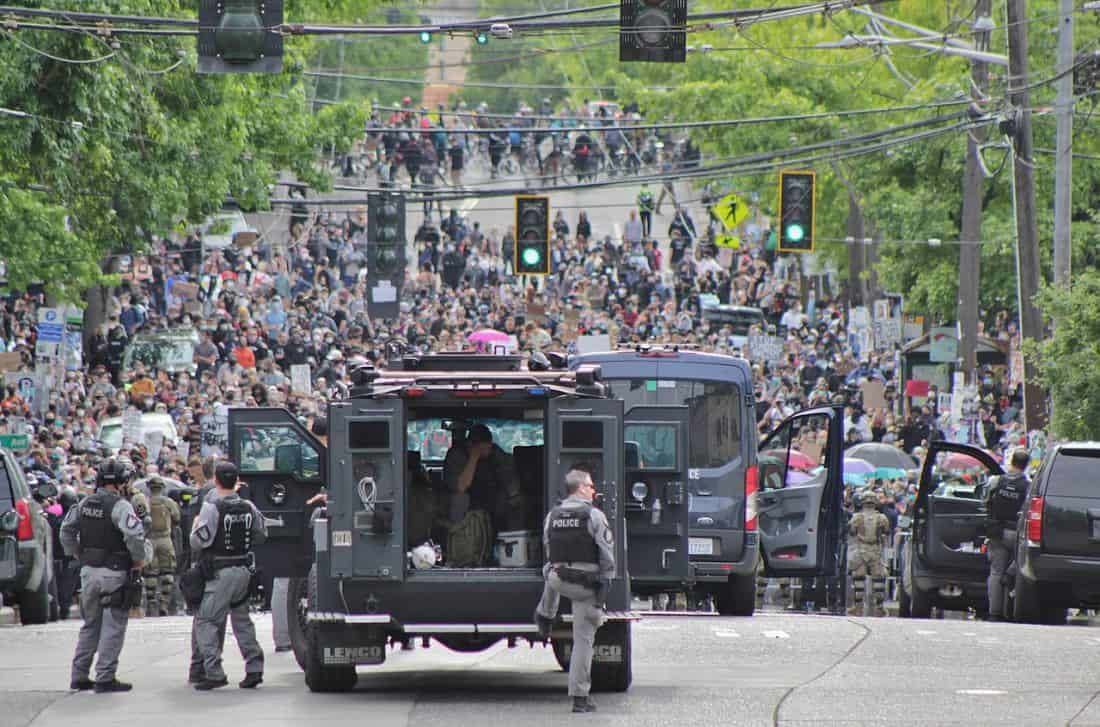 A Seattle Police Department van deployed as part of the George Floyd protests on Capitol Hill in Seattle.