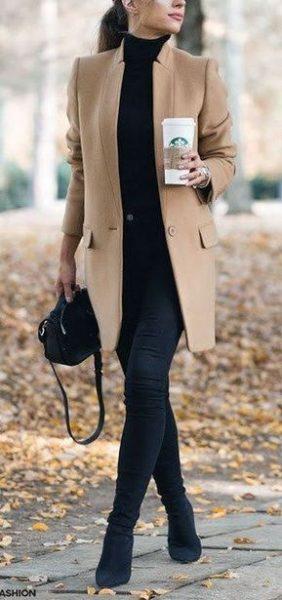 minimal style camel coat
