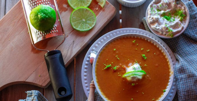Key Lime Sweet Potato Bisque with Key Lime Cream