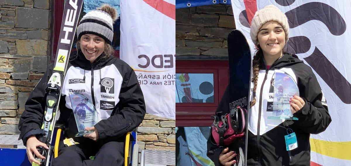 Audrey Pascual, doble medalla de oro en esquí (izquierda) y Paula Hormaeche, medalla de oro en snowboard (derecha).